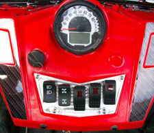 CNC Polaris RZR dash panels with additional illuminated switches and